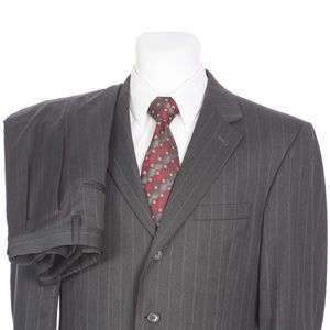 Jos A Bank Three Button Gray Pinstripe Wool Suit